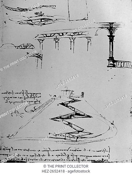 Plan of Canal Ascending Hill By Means of Locks', 1928. From The Mind of Leonardo Da Vinci, by Edward McCurdy. [Jonathan Cape, London, 1928]