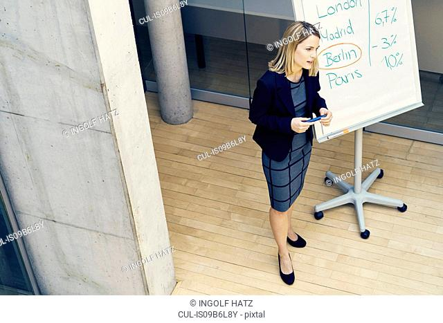 High angle view of young businesswoman giving international business presentation