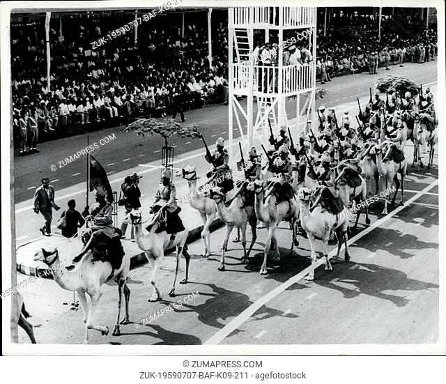 Jul. 07, 1959 - Seventh Anniversary Military Parade in Cairo. Huge crowds attended the great military parade on the Nile Corniche Road