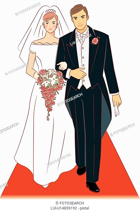 Bridal couple walking together on red carpet, bride holding wedding cascade bouquet, front view