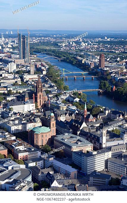 Frankfurt am Main, in the background the new building of the European Central Bank, ECB, Hesse, Germany, Europe