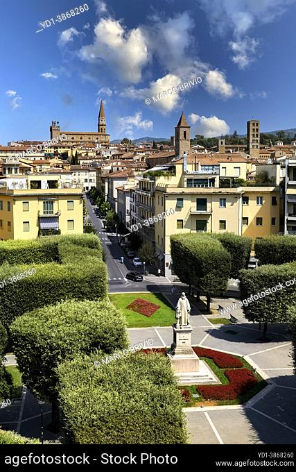 Arezzo Tuscany Italy. Elevated view of the city