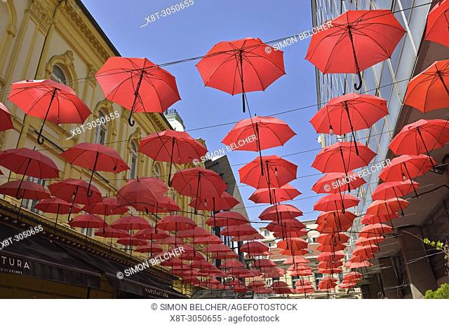 Red Umbellas Outside the Manufaktura Restaurant, Belgrade, Serbia