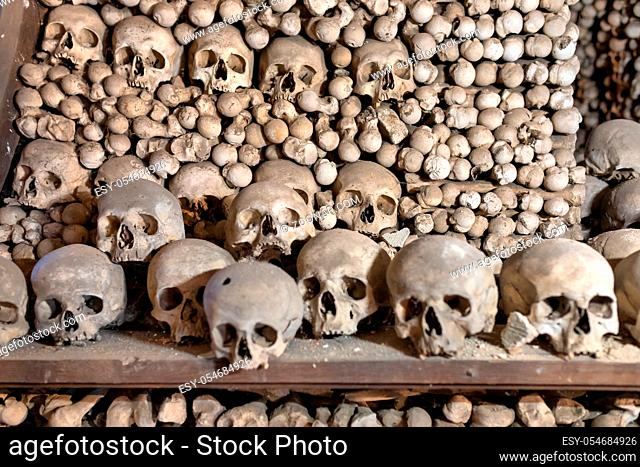 Human skulls and bones Kostnice Sedlec Ossuary, small Roman Catholic chapel, Cemetery Church of All Saints in Sedlec, a suburb of Kutna Hora in the Czech...