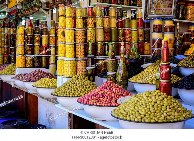 Morocco, Moroccan, Marrakech, Medina, Souk, market, olive stall, North Africa, Africa, African, Maghreb