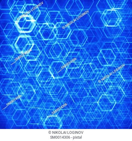 Blue hexode cells abstract background