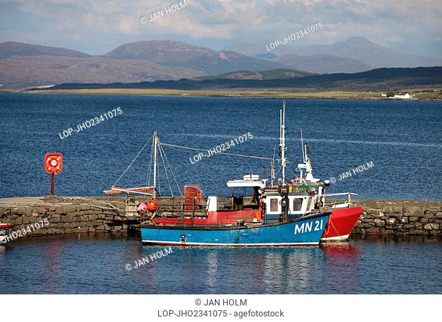 Scotland, Highland, Broadford. Fishing boats in Broadford Harbour on the Isle of Skye