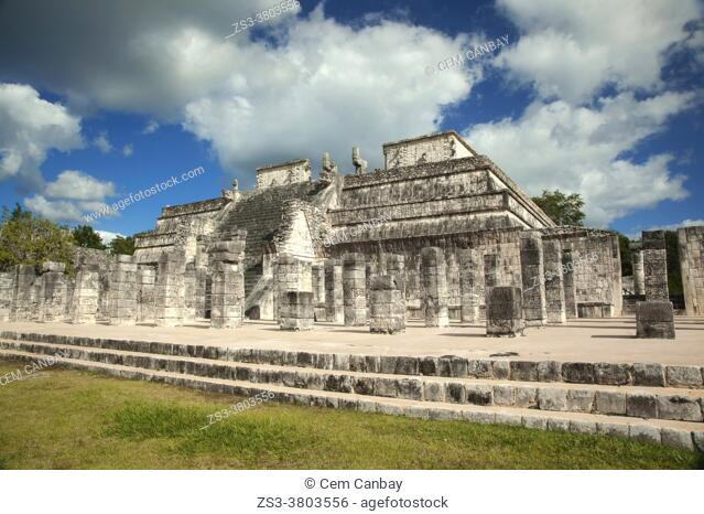 View to the Temple Of The Warriors-Templo de los Guerreros at the Prehispanic Mayan Archaeological Site Chichen Itza in the Puuc Route, Yucatan State, Mexico