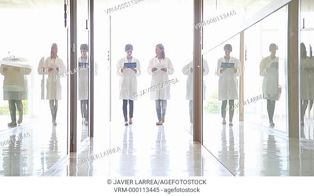 Researchers walking, Tecnalia Foundation, Technology and Research Centre, San Sebastian Technological Park, Donostia, Gipuzkoa, Basque Country, Spain