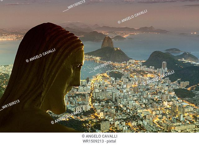 Head of statue of Christ the Redeemer, Corcovado, Rio de Janeiro, Brazil, South America