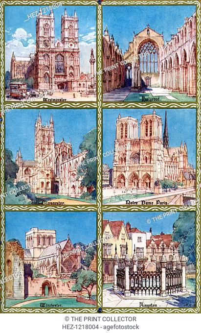 Venues of coronations at various periods before and since Edward the Confessor, 1937. Clockwise from top left: Westminster Abbey, London; Holyrood Abbey