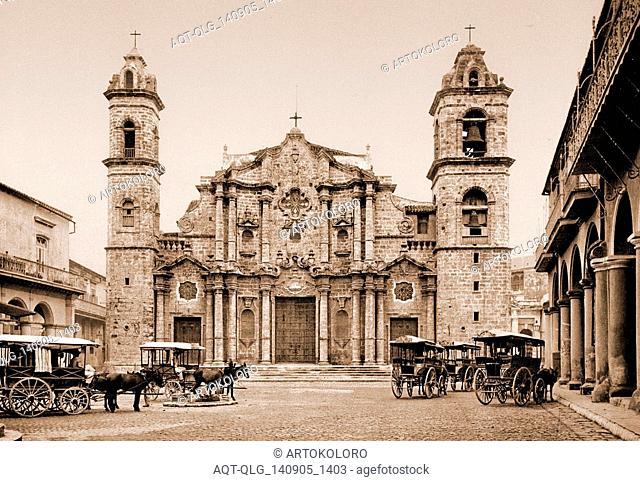 La catedral, Habana, Jackson, William Henry, 1843-1942, Cathedrals, Cuba, Havana, 1900