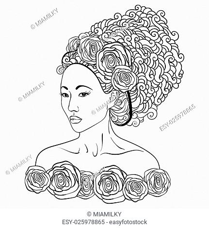 stylized vector illustration of a beautiful geisha girl. Japanese girl. Zentangle. Doodle style. Can be used as adult coloring book, coloring page, card