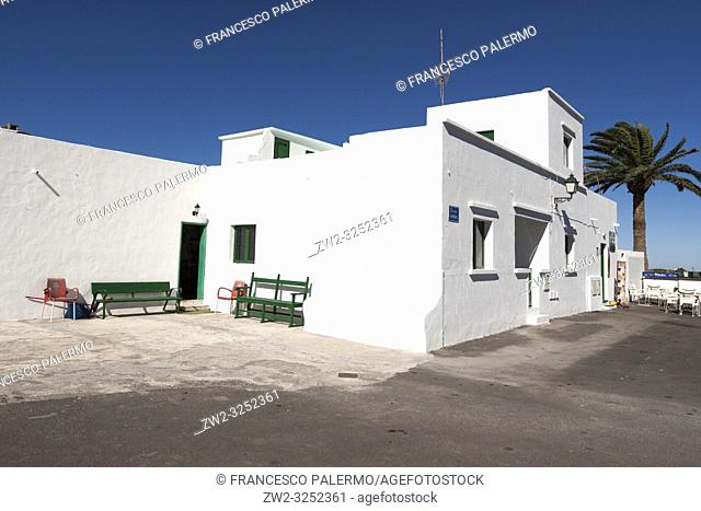 Typical white building characteristic of the island. Mancha Blanca, Lanzarote. Spain