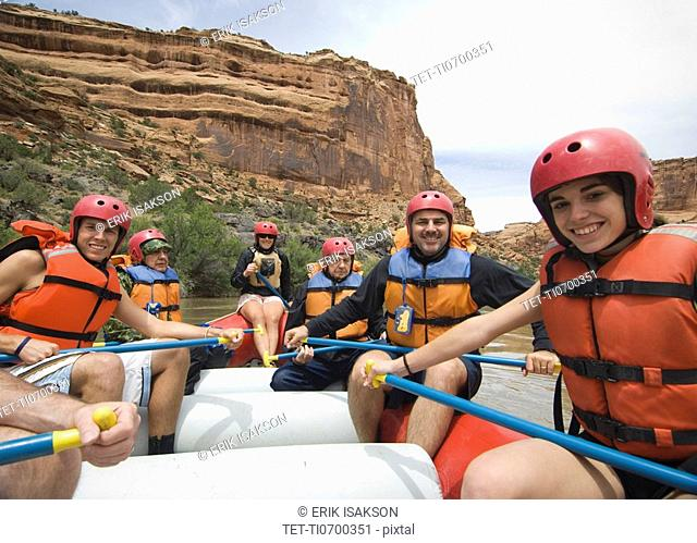 Group of people in raft