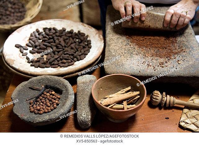 Mexico Tabasco Comalcalco Cocoa Museum Cocoa beans Cocoa milling