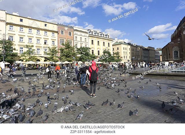 KRAKOW POLAND ON SEPTEMBER 24, 2018: The main square of the Old Town of Krakow, Lesser Poland
