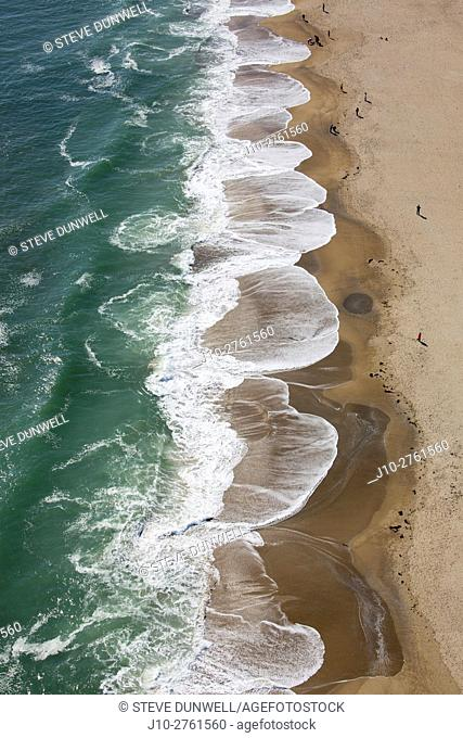 Aerial view of waves at Hampton Beach, New Hampshire, USA
