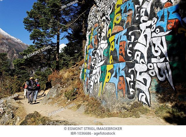 Hiking group in front of mani stone, Bhote Koshi Valley, Sagarmatha National Park, Khumbu Himal, Nepal, Asia
