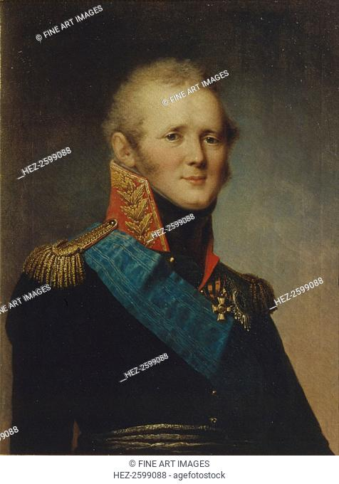 Portrait of Emperor Alexander I (1777-1825), 1809. Found in the collection of the Regional Art Gallery, Tver