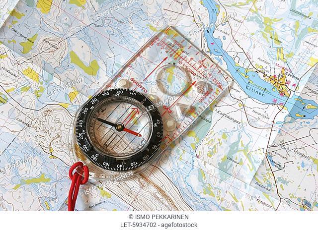 Map and compass  Joensuu, Finland