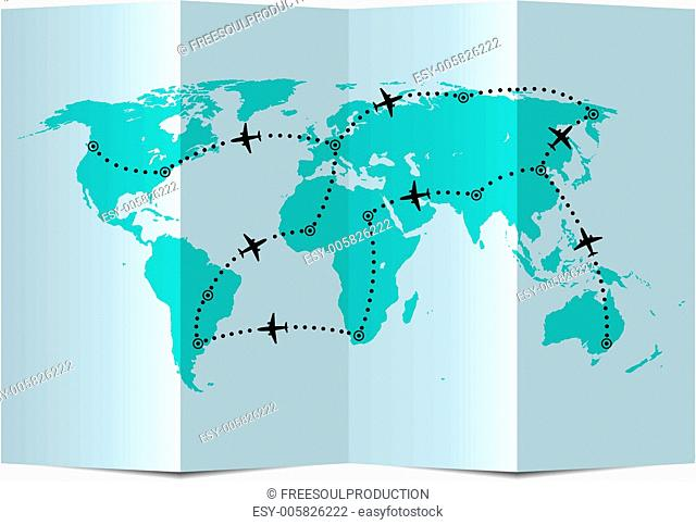 vector paper map with airplane flight paths