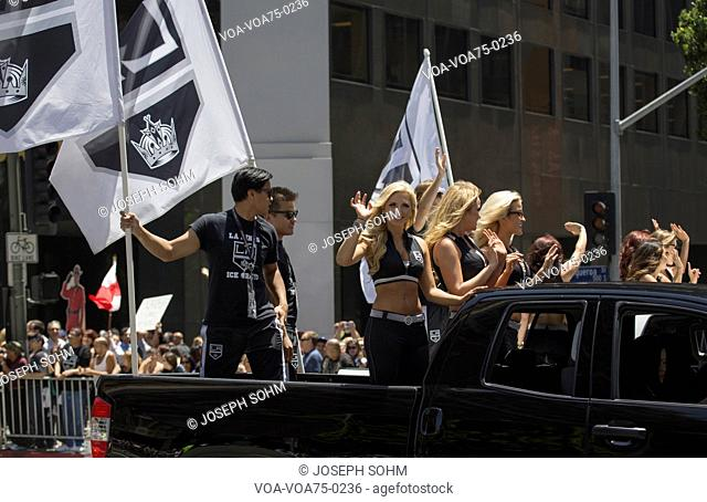 Cheerleaders at LA Kings 2014 Stanley Cup Victory Parade, Los Angeles, California, USA