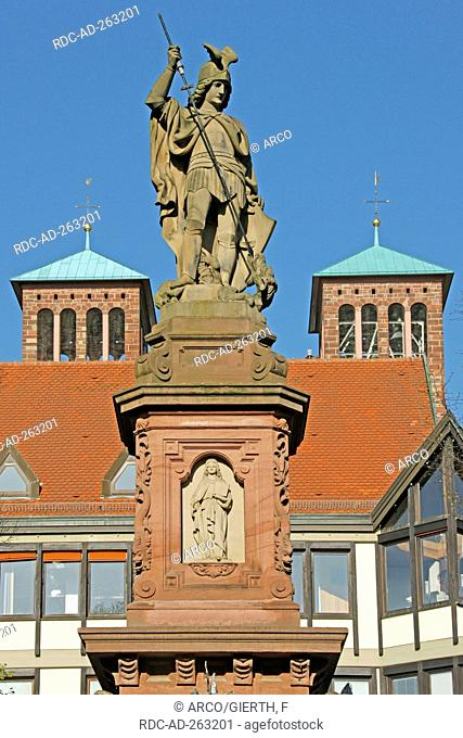 Statue of St Georg market place Bensheim Hesse Germany Saint Georg