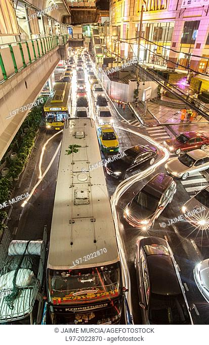 View from one of Bangkok's overhead BTS train stations of an evening traffic jam, Thailand