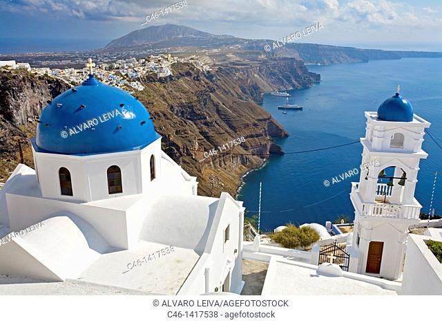 Church, Village of Firostefani  Santorini, Cyclades Islads, Greece