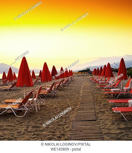 Square vibrant beach umbrellas travel vacation background backdrop