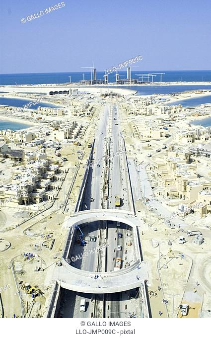 Aerial View of a Roundabout on the Palm Island  Dubai, United Arab Emirates