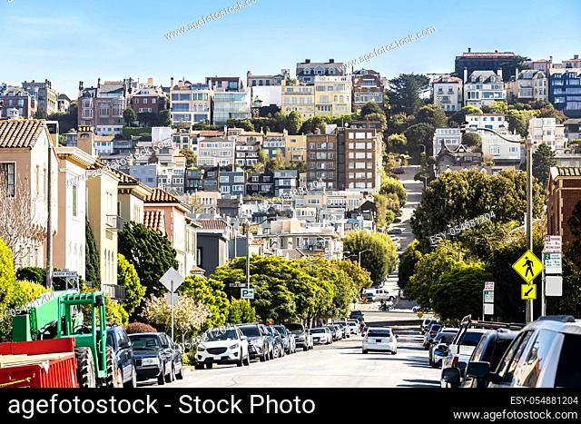 Beautiful cityscape of San Francisco around Cow Hollow and Presidio Park in North California USA West Coast of Pacific Ocean