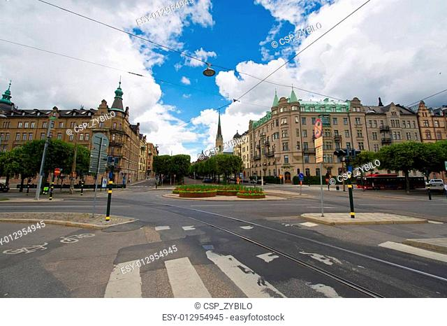 Stockholm. A view to the historic buildings in the old town