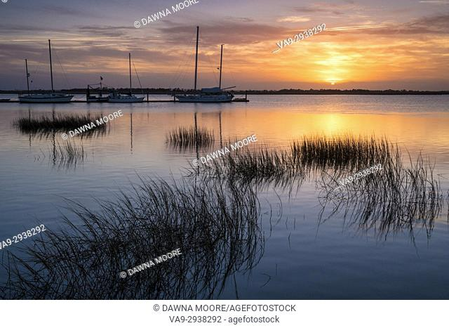 Beautiful sunset over the marsh on Jekyll Island in Georgia