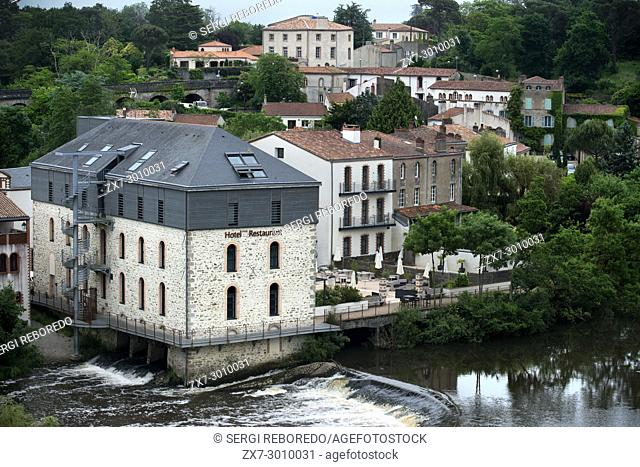 Clisson village with the bridge in the Sevre Nantaise river, Nantes, Loire Atlantique, France