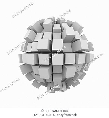 3d abstract block cube sphere ball