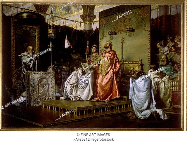 Conversion of Reccared to Catholicism at the Council III of Toledo, 589 by Muñoz Degraín, Antonio (1840-1924)/Oil on canvas/History painting/1888/Spain/Palacio...