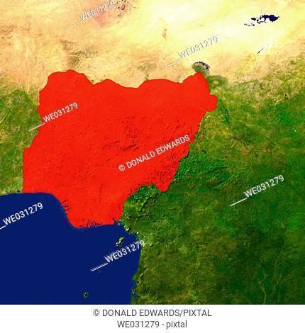 Highlighted satellite image of Nigeria