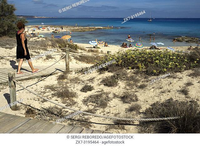 Ses platgetes beach in Es Calo de San Agusti, Formentera Island, Mediterranean sea, Balearic Islands, Spain. Can Rafalet Restaurant