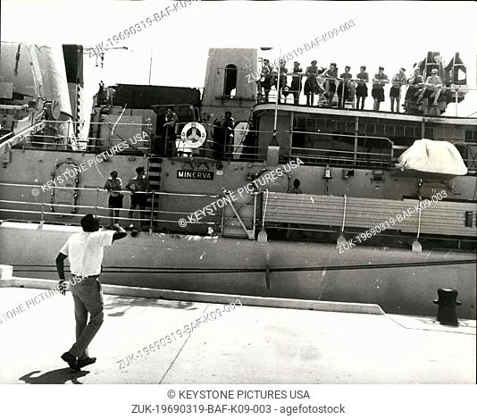 Mar. 19, 1969 - One man demonstration at St. John's: A one man (foreground) demonstration was staged yesterday (Tuesday) before the British frigate Minerva at...