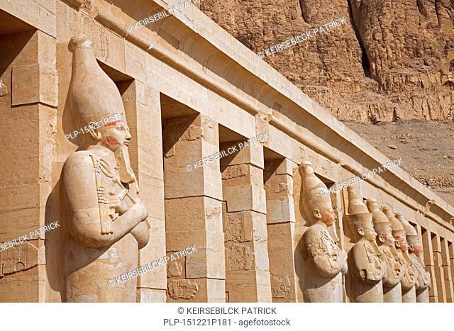 Osirian statues at the Mortuary Temple of Queen Hatshepsut / Djeser-Djeseru at Deir el Bahari near the Valley of the Kings, Luxor, Egypt