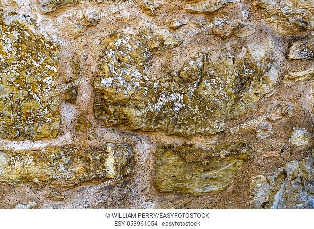 Alamo Mission Stone Wall Background Abstract San Antonio Texas. Site 1836 battle between Texas patriots and Mexican army