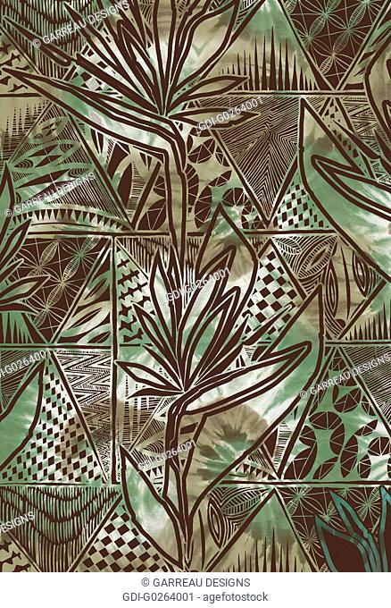 Birds of paradise green and brown design