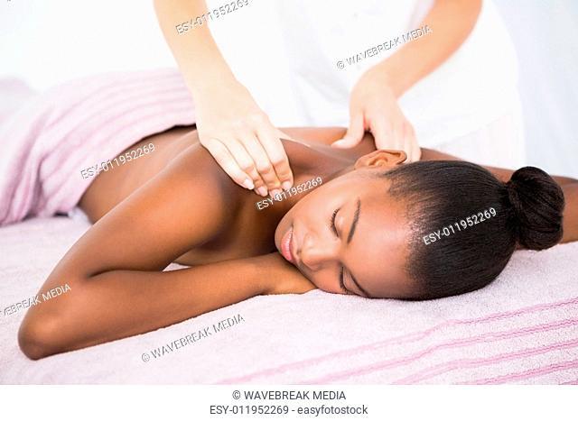 Pretty woman enjoying a massage