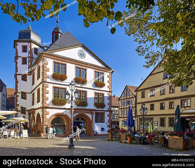 Market square with town hall in the old town, Lohr am Main, Lower Franconia, Bavaria, Germany
