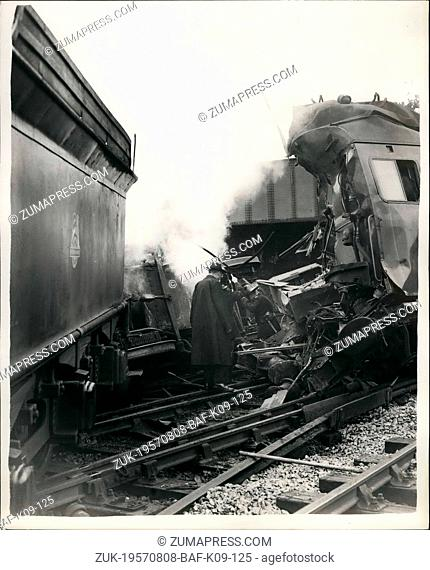 Aug. 08, 1957 - Miracle escapes in head-on rail crash. Windsor-Waterloo train hits shunting engine.: Seven people - four of them passengers - were injured - and...