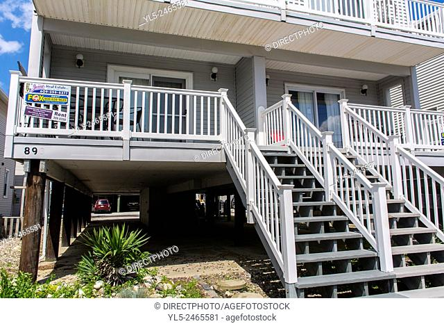 Ocean City, NJ, USA, Wooden Accommodations, Resort Homes, House on Stilts for Flood Protection
