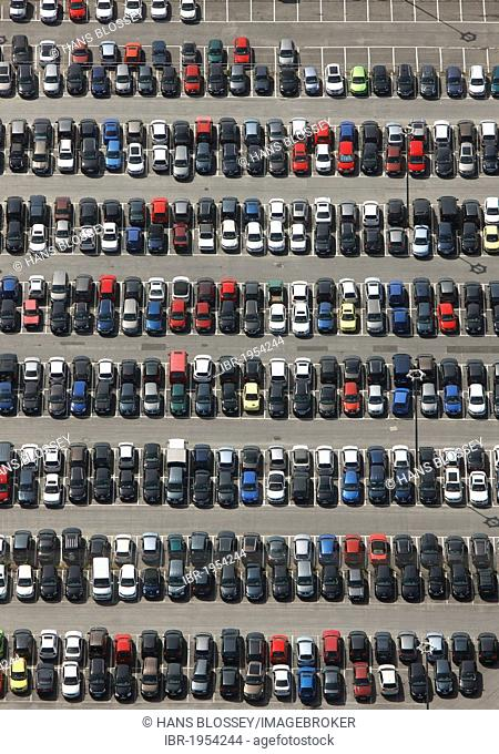 Aerial view, parking site for the VW factory workers, Volkswagen plant, Autostadt, Wolfsburg, Lower Saxony, Germany, Europe