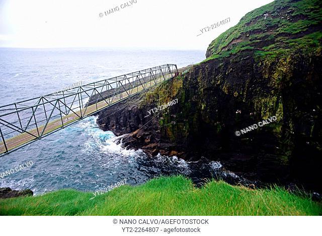Bridge in hiking path Mykineshólmur, Mykines, Faroe Islands